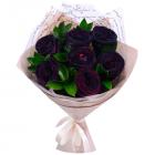 Букет из 7 чёрных роз